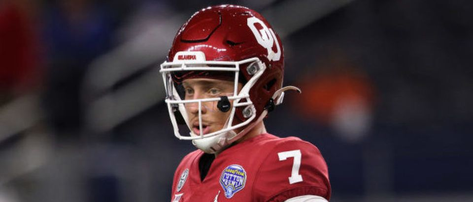 ARLINGTON, TEXAS - DECEMBER 30: Quarterback Spencer Rattler #7 of the Oklahoma Sooners looks on against the Florida Gators during the third quarter at AT&T Stadium on December 30, 2020 in Arlington, Texas. (Photo by Ronald Martinez/Getty Images)