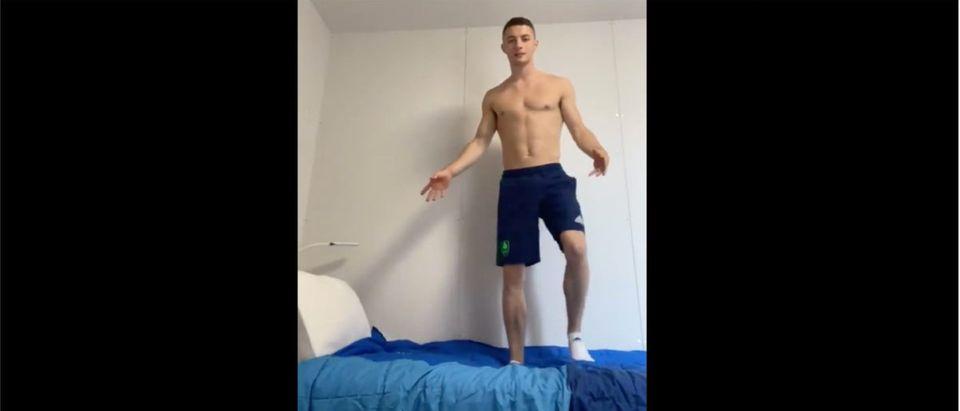 Olympic Beds (Credit: Screesnshot/Twitter Video https://twitter.com/McClenaghanRhys/status/1416567768938291203)