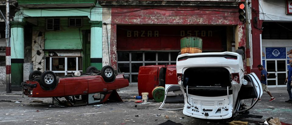 Overturned Cuban Cars Getty