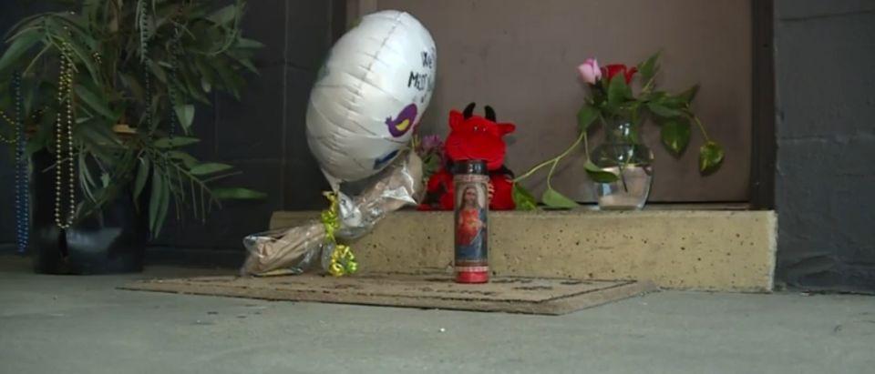 Picture of memorial of Michelle McDonald. [Website:Screenshot:WXIX]