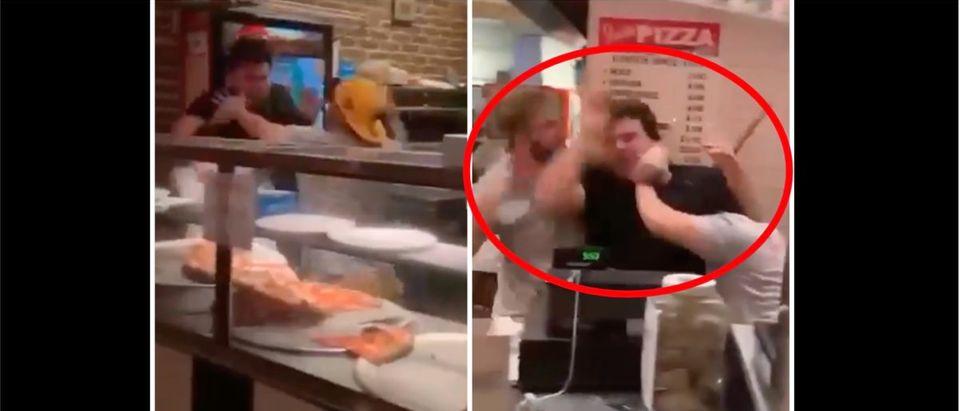 Pizza Brawl (Credit: Screenshot/Twitter Video https://twitter.com/barstoolsports/status/1419650160909504512)