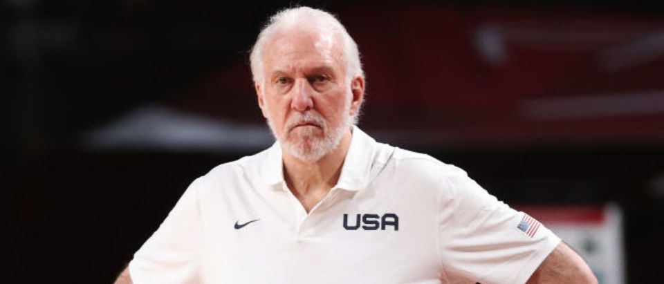 SAITAMA, JAPAN - JULY 25: Gregg Popovich of Team United States looks on in disappointment during the first half against France in the Men's Preliminary Round Group B game on day two of the Tokyo 2020 Olympic Games at Saitama Super Arena on July 25, 2021 in Saitama, Japan. (Photo by Gregory Shamus/Getty Images)