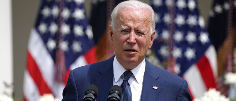 President Joe Biden delivers remarks during an event in the Rose Garden of the White House on July 26, 2021 in Washington, DC. (Photo by Anna Moneymaker/Getty Images)