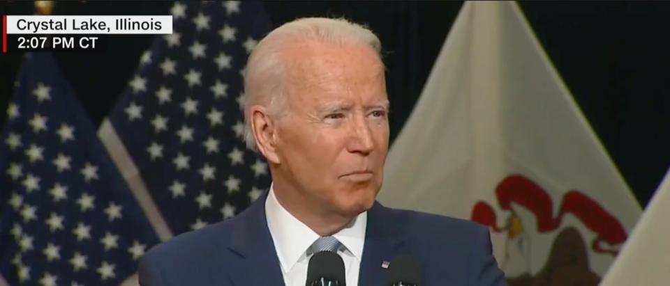 Pres. Joe Biden spoke in Illinois about infrastructure. (Screenshot CNN)
