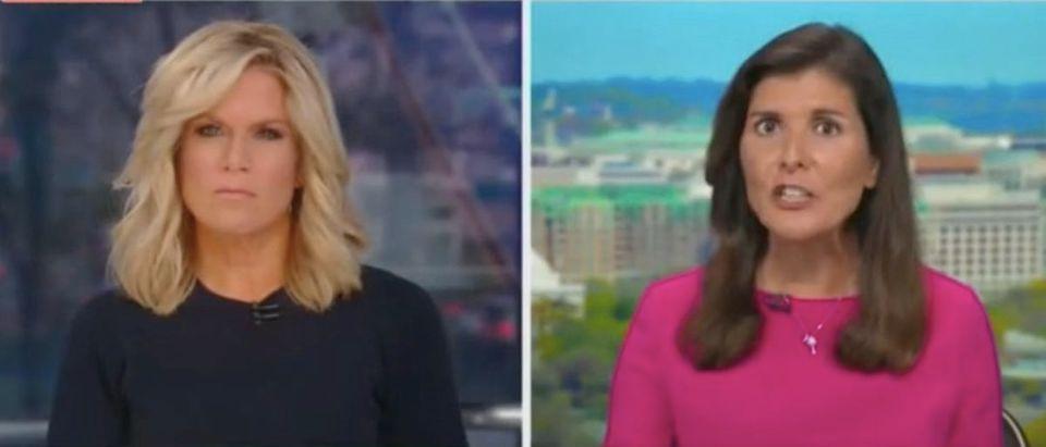 "Martha MacCallum and Nikki Haley appear on ""The Story."" Screenshot/Fox News"
