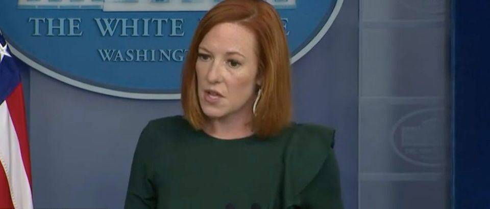 White House press secretary Jen Psaki holds briefing. Screenshot/CBSN