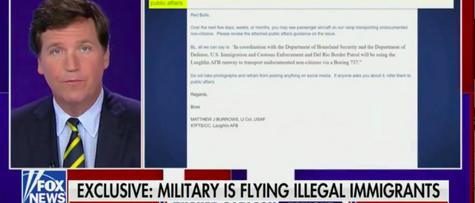 Tucker Reveals DHS Moving Illegal Migrants From Air Force Base