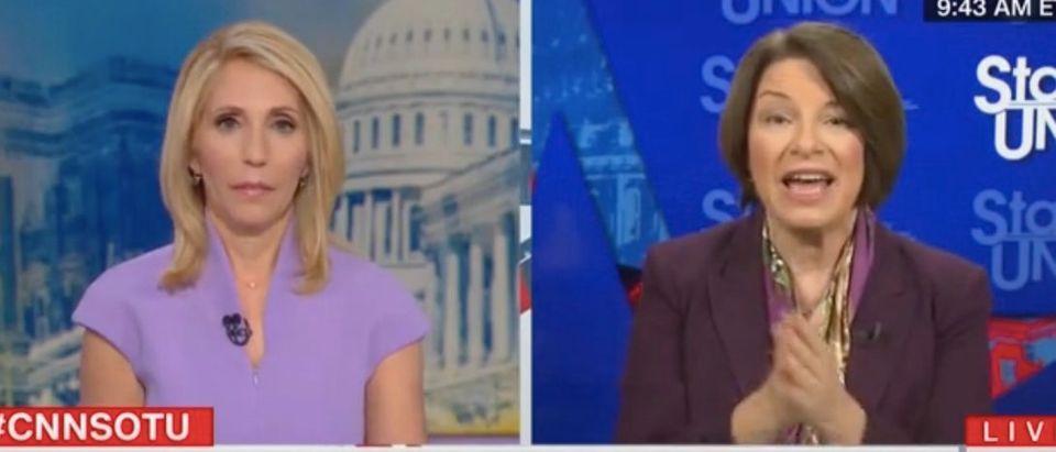 Dana Bash speaks with Democratic Minnesota Sen. Amy Klobuchar. Screenshot/CNN