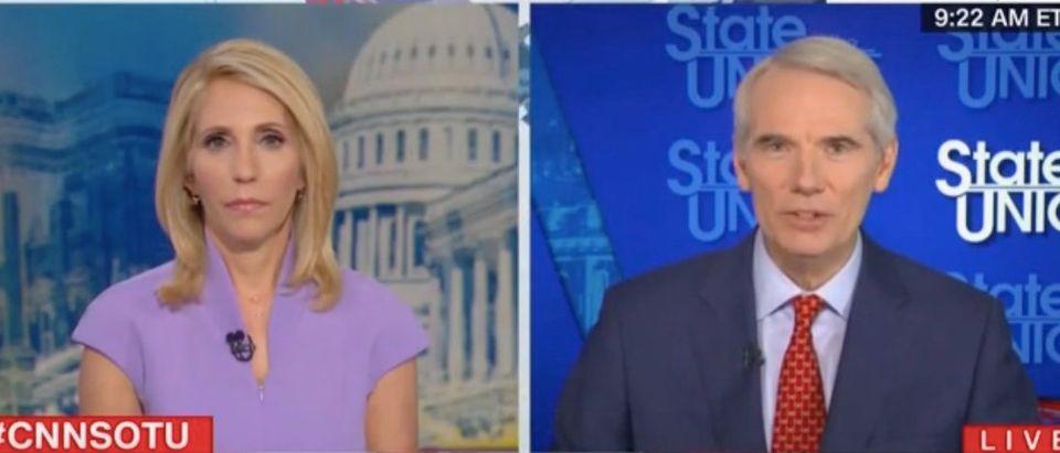 Dana Bash speaks with Republican Ohio Sen. Rob Portman. Screenshot/CNN