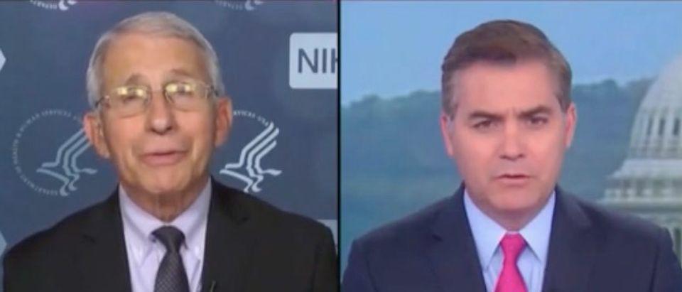 "Anthony Fauci and Jim Acosta appear on ""CNN Newsroom."" Screenshot/CNN"