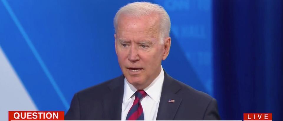 Pres. Joe Biden discussed his prediction for those under 12 regarding COVID-19 during CNN's town hall. (Screenshot CNN)
