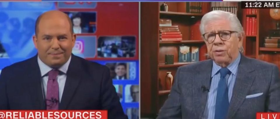"""Brian Stelter and Carl Bernstein appear on """"Reliable Sources."""" Screenshot/CNN"""