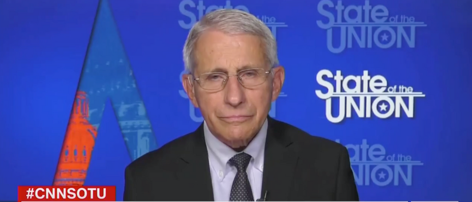 Dr. Anthony Fauci said the CDC is considering revisiting its mask guidelines for vaccinated Americans. (Screenshot CNN, State of the Union)