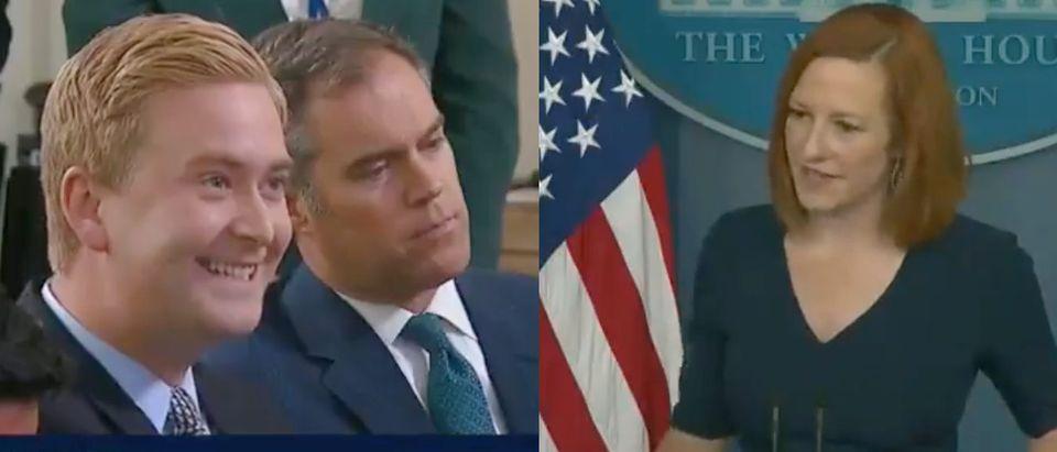 Fox News' Senior White House Correspondent Peter Doocy and White House Press Secretary Jen Psaki debate the price of hotdogs [Twitter/Screenshot/Daily Caller]
