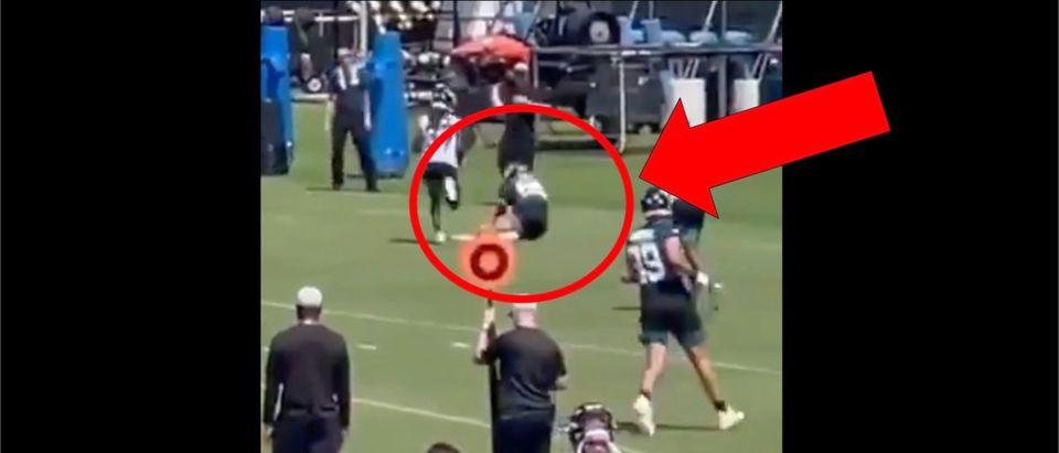Tim Tebow Catch (Credit: Screenshot/Twitter Video https://twitter.com/cubjag/status/1421125696399761414)