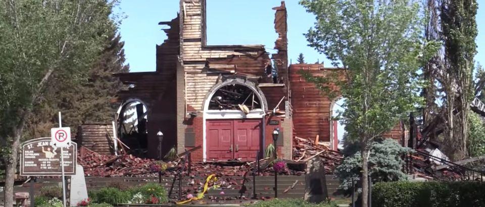St. Jean Baptiste Parish in Morinville, Alberta. Screenshot, YouTube.