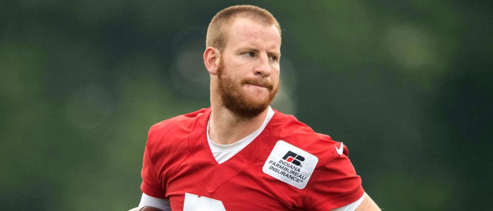 Jul 28, 2021; Westfield, IN, United States; Indianapolis Colts quarterback Carson Wentz (2) at Grand Park. Mandatory Credit: Marc Lebryk-USA TODAY Sports via Reuters