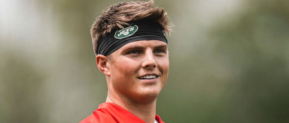 May 7, 2021; East Rutherford, NJ, USA; New York Jets quarterback Zach Wilson during rookie minicamp. Mandatory Credit: New York Jets/Handout Photo via USA TODAY Sports via Reuters