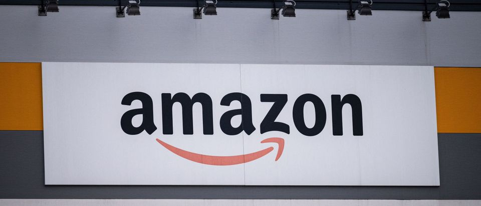This picture shows Amazon's logo on the company's premises in Brandizzo, near Turin, March 22, 2021. (Photo by MARCO BERTORELLO/AFP via Getty Images)