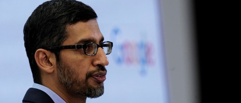 Google CEO Sundar Pichai speaks during a conference in Brussels on January 20, 2020. (Photo by KENZO TRIBOUILLARD/AFP via Getty Images)
