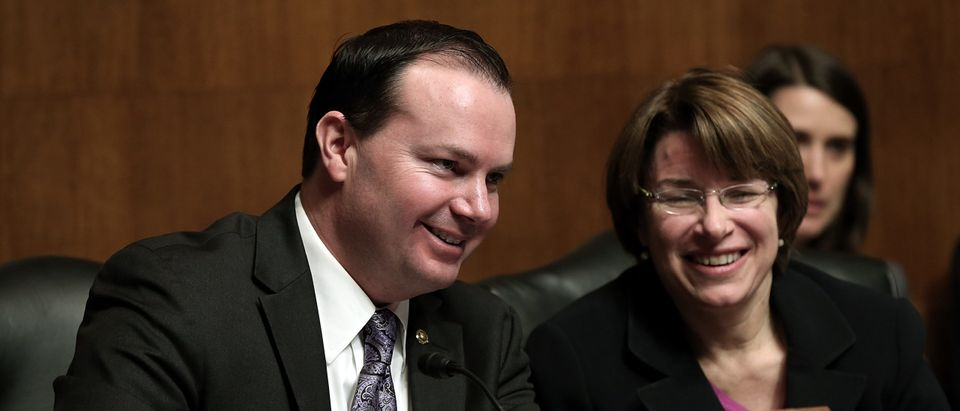 U.S. Sen. Mike Lee (R-UT) and Sen. Amy Klobuchar (D-MN) confer during a hearing of the Senate Judiciary Committee on Capitol Hill. (Photo by Win McNamee/Getty Images)