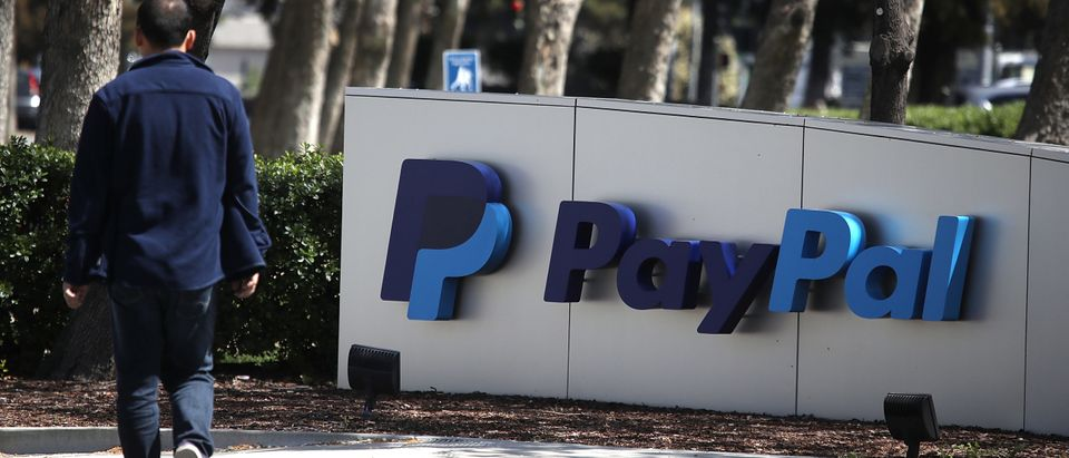 A sign is posted outside of the PayPal headquarters on April 9, 2018 in San Jose, California. (Photo by Justin Sullivan/Getty Images)