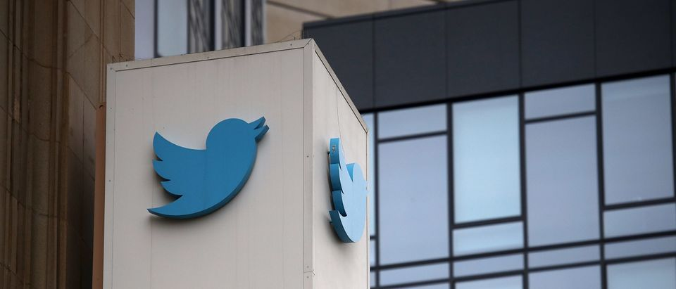 A sign is posted on the exterior of Twitter headquarters. (Photo by Justin Sullivan/Getty Images)