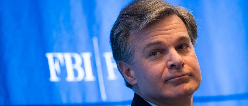 FBI Director Christopher Wray speaks at a conference on cybersecurity. (Photo by Drew Angerer/Getty Images)
