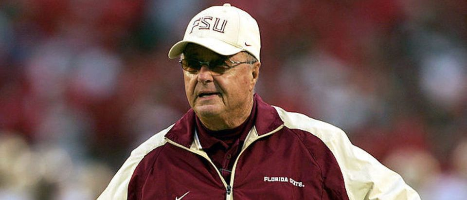 COLLEGE PARK, MD - OCTOBER 30: Head coach Bobby Bowden of the Florida State Seminoles paces the sidelines during the second half as the University of Maryland Terrapins defeated the Seminoles 20-17 during NCAA football at Byrd Stadium on October 30, 2004 in College Park, Maryland. (Photo by Doug Pensinger/Getty Images)