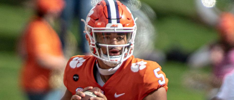 Oct 31, 2020; Clemson, SC, USA; Clemson quarterback D.J. Uiagalelei (5) passes the ball during the first quarter of the game against Boston College at Memorial Stadium. Mandatory Credit: Josh Morgan-USA TODAY Sports via Reuters