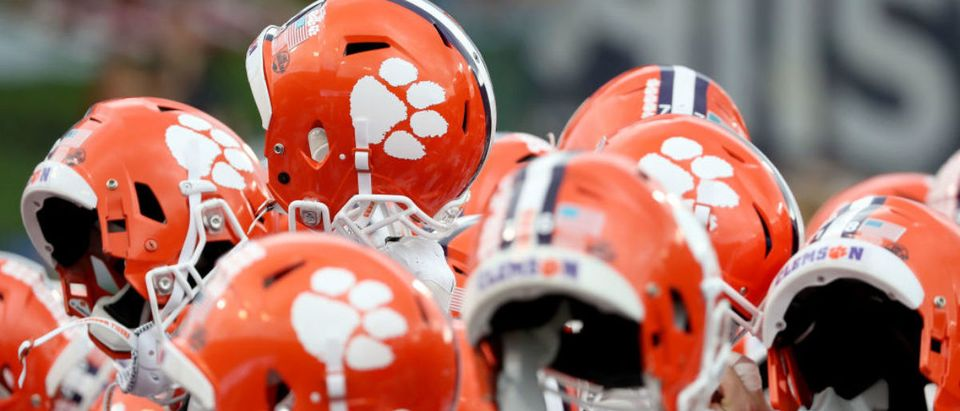 WINSTON SALEM, NC - OCTOBER 06: A detailed view of the helmets worn by the Clemson Tigers before their game against Wake Forest Demon Deacons at BB&T Field on October 6, 2018 in Winston Salem, North Carolina. (Photo by Streeter Lecka/Getty Images)