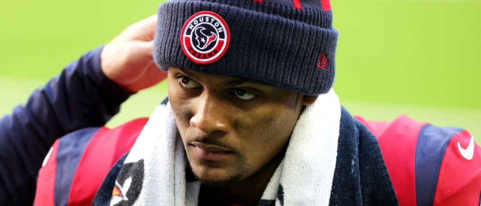 HOUSTON, TEXAS - DECEMBER 06: Deshaun Watson #4 of the Houston Texans looks on against the Indianapolis Colts at NRG Stadium on December 06, 2020 in Houston, Texas. (Photo by Carmen Mandato/Getty Images)