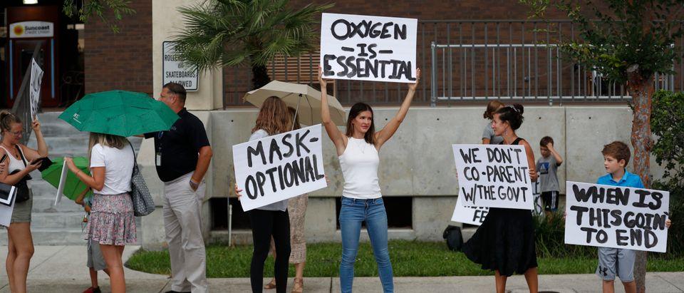 Parents Protest Mask Mandates At Florida School Board Meeting