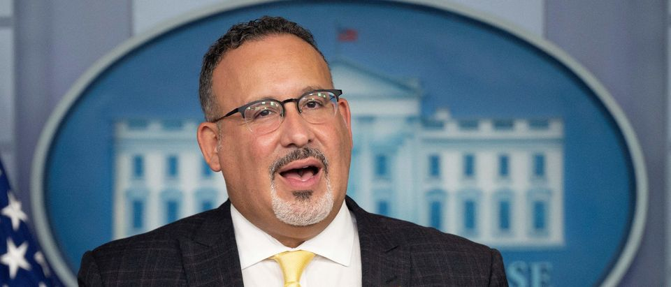 US Education Secretary Miguel Cardona speaks during the daily press briefing on August 5, 2021, in the Brady Briefing Room of the White House in Washington, DC. (Photo by JIM WATSON / AFP) (Photo by JIM WATSON/AFP via Getty Images)