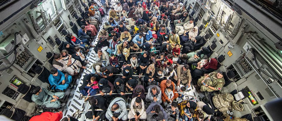 KABUL, AFGHANISTAN - AUGUST 21: In this handout image provided by the Ministry of Defence, a full flight of 265 people are evacuated out of Kabul by the UK Armed Forces on August 21, 2021 in Kabul, Afghanistan. (Ben Shread/MoD Crown Copyright via Getty Images)