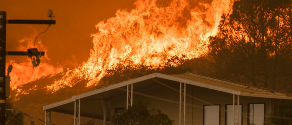 WOFFORD HEIGHTS, CA - AUGUST 24: The French Fire comes close to destroying homes on August 24, 2021 in Wofford Heights, California. The 16,000-acre French Fire began August 18 and is 19 percent contained. (Photo by David McNew/Getty Images)