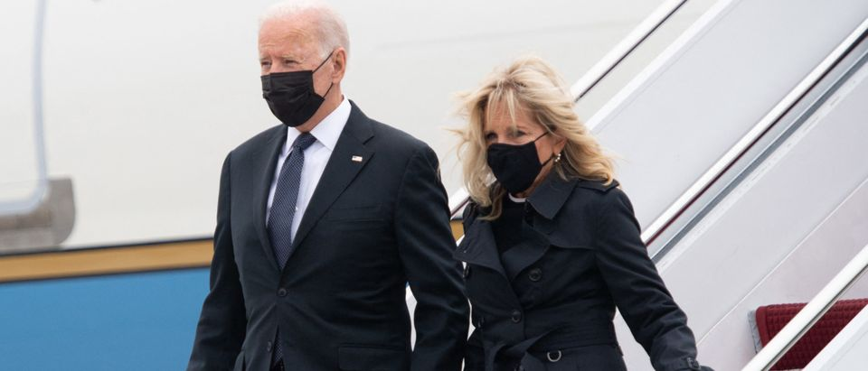 US President Joe Biden and First Lady Jill Biden disembark from Air Force One upon arrival at Dover Air Force Base in Delaware, August, 29, 2021. - Biden travels to Dover Air Force Base in Delaware to attend the dignified transfer of the 13 members of the US military killed in Afghanistan last week. (Photo by SAUL LOEB / AFP) (Photo by SAUL LOEB/AFP via Getty Images)