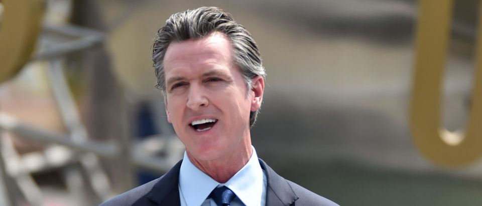 Governor Gavin Newsom Holds Press Conference For Official Reopening Of The State Of California At Universal Studios Hollywood