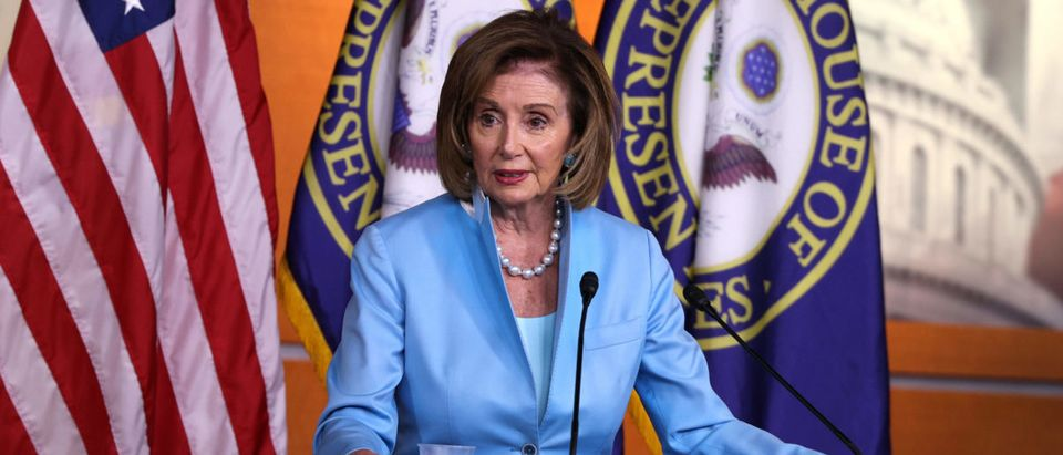 Speaker Pelosi Holds Weekly News Conference On Capitol Hill