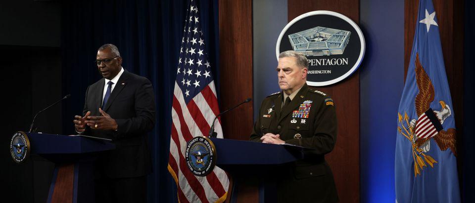 Defense Secretary Lloyd Austin And Army Secretary Gen. Mark Milley Hold Briefing At Pentagon