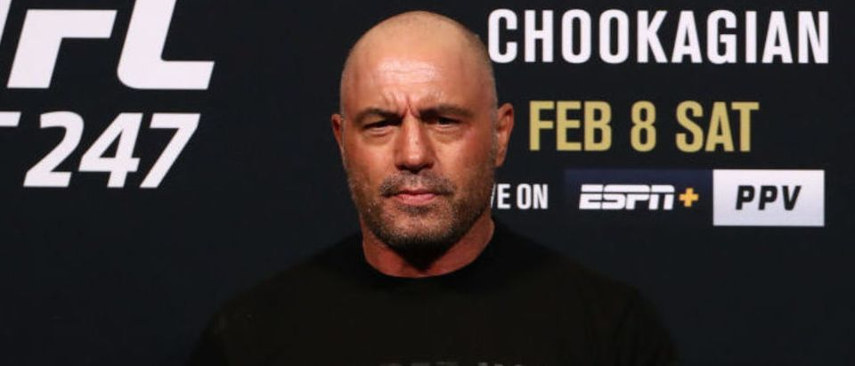 HOUSTON, TEXAS - FEBRUARY 07: Joe Rogan during the UFC 247 ceremonial weigh-in at Toyota Center on February 07, 2020 in Houston, Texas. (Photo by Ronald Martinez/Getty Images)