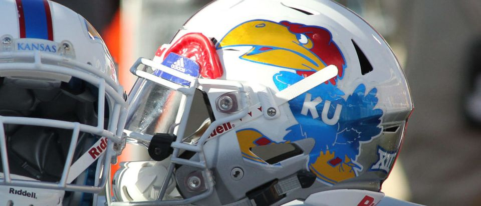 Oct 20, 2018; Lubbock, TX, USA; Kansas Jayhawks helmets sit behind the bench in the second half during the game against the Texas Tech Red Raiders at Jones AT&T Stadium. Mandatory Credit: Michael C. Johnson-USA TODAY Sports via Reuters