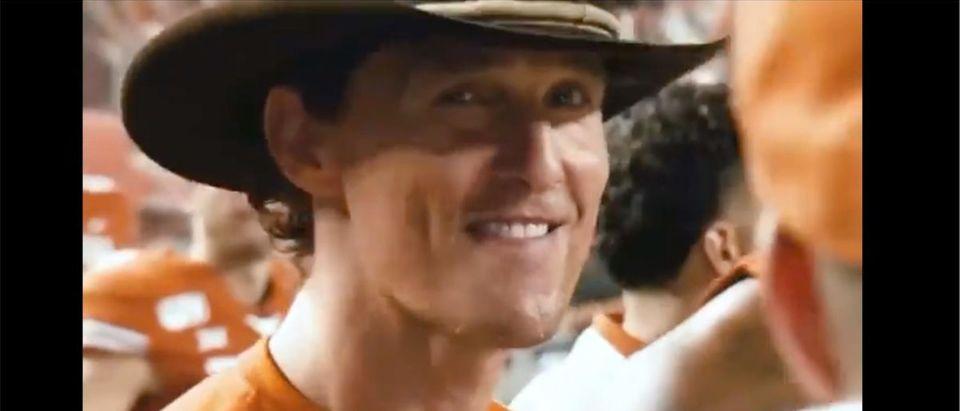 Matthew McConaughey Hype Video (Credit: Screenshot/Twitter Video https://twitter.com/McConaughey/status/1430533705504681986)