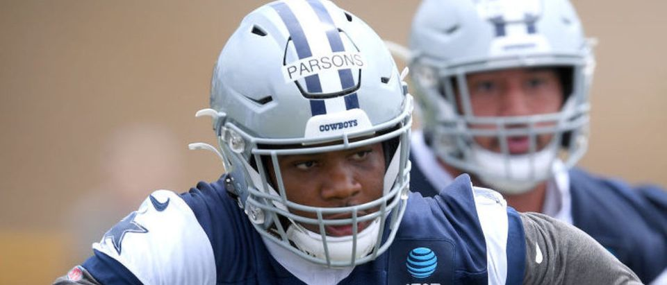 OXNARD, CA - JULY 24: Linebacker Micah Parsons #11 of the Dallas Cowboys battle runs drills during training camp at River Ridge Complex on July 24, 2021 in Oxnard, California. (Photo by Jayne Kamin-Oncea/Getty Images)