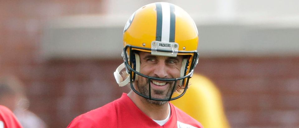 July 28, 2021; Green Bay, WI, USA; Green Bay Packers quarterback Jordan Love (10) and quarterback Aaron Rodgers (12) participate in training camp Wednesday, July 28, 2021, in Green Bay, Wis. Mandatory Credit: Dan Powers-USA TODAY NETWORK via Reuters