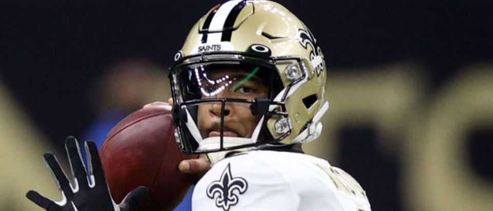 NEW ORLEANS, LOUISIANA - AUGUST 23: Jameis Winston #2 of the New Orleans Saints looks to throw a pass against the Jacksonville Jaguars at Caesars Superdome on August 23, 2021 in New Orleans, Louisiana. (Photo by Chris Graythen/Getty Images)