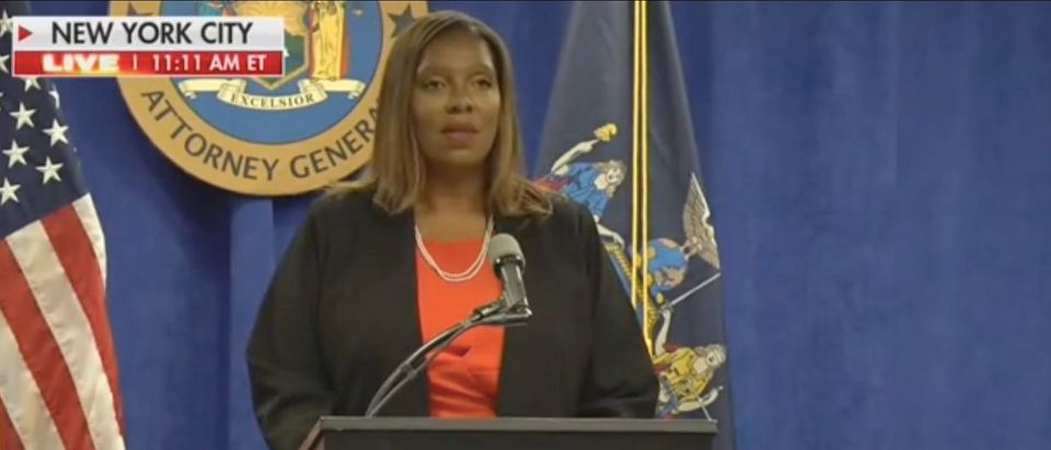 New York AG Letitia James gives a press conference. Screenshot/Fox News