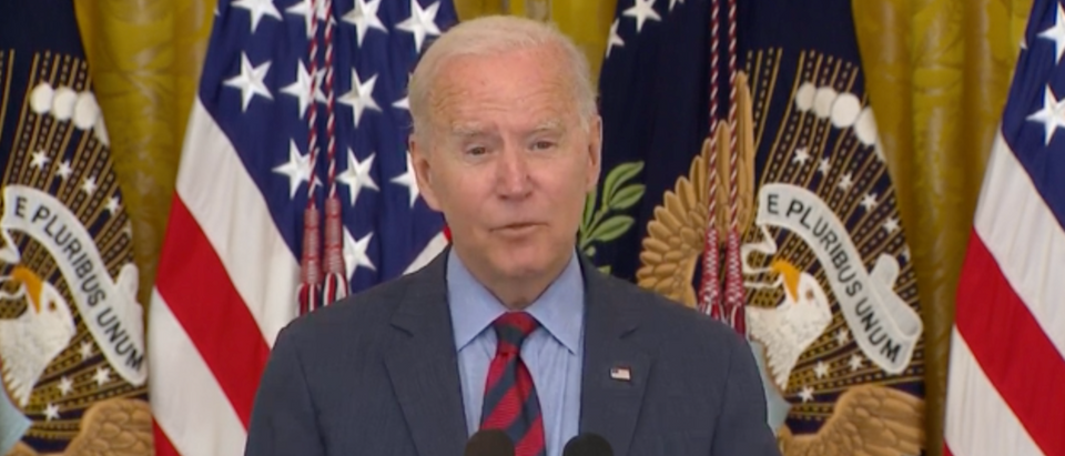 Pres. Joe Biden addressed the AG report that determined Gov. Andrew Cuomo sexually harassed multiple women. (Screenshot Grabien, President Biden Delivers Remarks On Progress Toward Fighting The COVID-19 Pandemic)