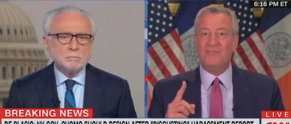 Wolf Blitzer speaks with NYC Mayor Bill de Blasio. Screenshot/CNN
