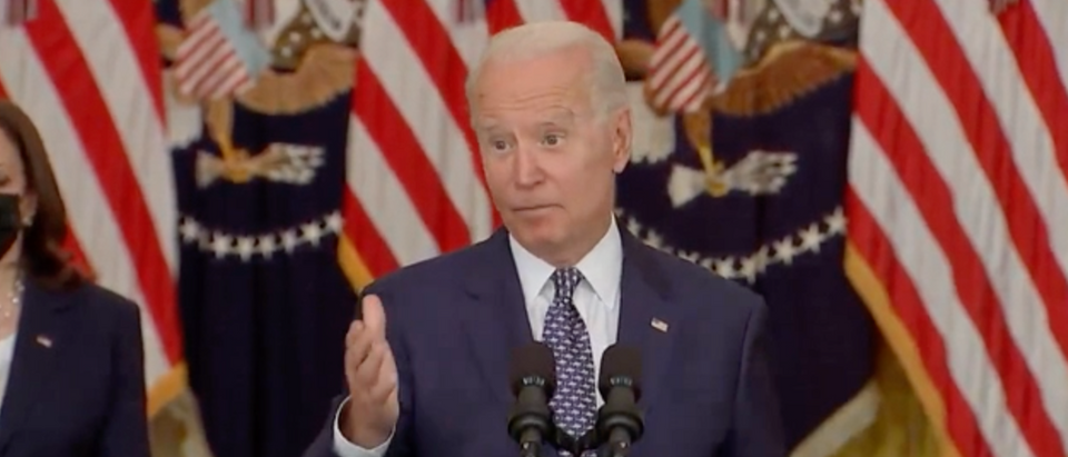 Joe Biden said he respects Gov. Cuomo's decision to resign and praised his time in office. (Screenshot YouTube, President Joe Biden Delivers Remarks On Passage Of Infrastructure Bill)